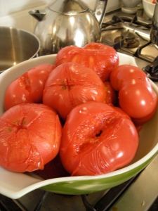tomatoes waiting to be peeled