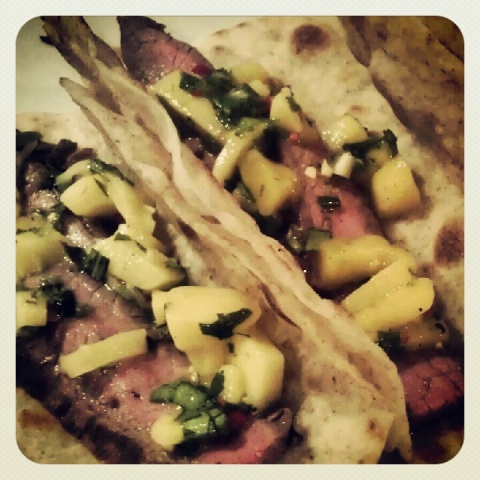 recipe flank steak with homemade tortilla and mango salsa
